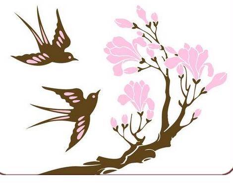 Résultat d'images pour Gifs oiseaux et fleurs roses
