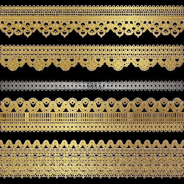 Gold Border Vector Png Wedding Invitation Card Golden: Tubes Deco Dentelle